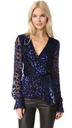 J. Mendel Deep V Neck Blouse Ultramarine