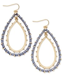 Inc International Concepts Gold Tone Navy And White Wrapped Double Teardrop Chandelier Earrings Only At Macy's