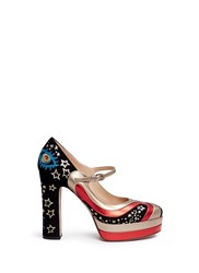 Valentino Galaxy Star Embroidered Suede Mary Jane Pumps Multi Colour