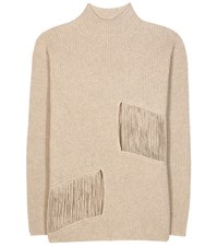 Stella Mccartney Distressed Cashmere And Wool Sweater Beige