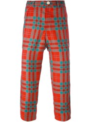 Comme Des Garcons Shirt Boy Checked Cropped Trousers Yellow And Orange