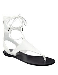Kendall Kylie Faris Leather Lace Up Sandals White