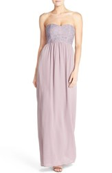 Women's Paper Crown By Lauren Conrad 'Breanna' Lace Bodice Crepe Gown Lilac Crepe Heather Lace