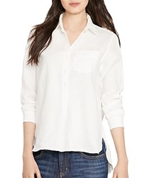 Lauren Ralph Lauren Linen Button Down Shirt White