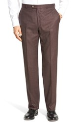 Men's Hickey Freeman Flat Front Solid Wool Travel Trousers Burgundy