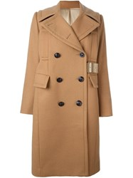 Sacai Double Breasted Mid Length Coat Nude And Neutrals