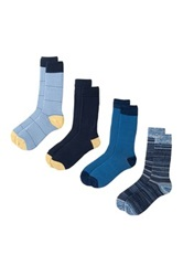 Lucky Brand Assorted Crew Cut Socks Pack Of 4 Blue