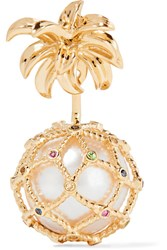 Yvonne Leon Pineapple 18 Karat Gold Multi Stone Earring