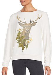 Wildfox Couture Deer Printed Long Sleeve Tee Vintage Lace