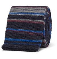 Etro Striped Knitted Wool Tie Blue
