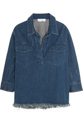 Chloe Oversized Frayed Denim Shirt Dark Denim