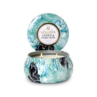 Voluspa Maison Jardin 2 Wick Candle In Tin Linden And Dark Moss