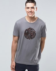 Pretty Green T Shirt With Paisley Logo Print In Slim Fit Grey Grey