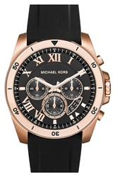 Michael Michael Kors 'Brecken' Chronograph Silicone Strap Watch 44Mm Black Rose Gold