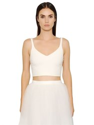 Elizabeth And James Nia Lace Up Back Viscose Jersey Crop Top