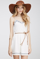 Forever 21 Embroidered Chiffon Cami Dress Cream Navy