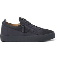 Giuseppe Zanotti Leather And Mesh Sneakers Dark Gray