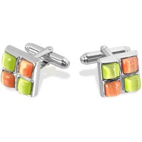Forzieri Yellow And Orange Stones Silver Plated Cuff Links