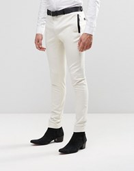 Asos Super Skinny Trousers In White With Black Satin Trim White