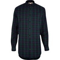 River Island Mens Green Longline Checked Shirt