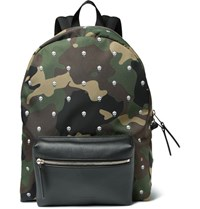 Alexander Mcqueen Printed Canvas And Leather Backpack Green