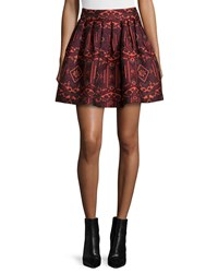 Alice Olivia Stora Pleated Tribal Print Skirt Red Orange Size 6 Multi Colors