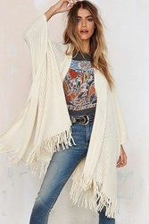 Nasty Gal Shawl It A Day Fringe Poncho Ivory