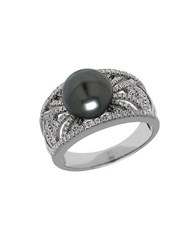 Lord And Taylor Tahitian Pearl Diamond 14K White Gold Ring