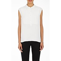 Atm Anthony Thomas Melillo Women's Sleeveless Tuxedo Shirt White