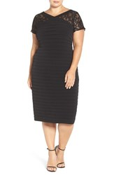 London Times Plus Size Women's Lace Yoke Midi Dress
