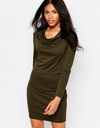 Daisy Street Double Layer Dress Khaki Green