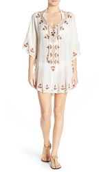 Luxe By Lisa Vogel Women's Luxe 'Premier' Embroidered Tunic Cover Up White