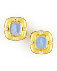 Putto Intaglio Clip Post Earrings Cerulean Yellow Elizabeth Locke