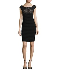 Xscape Evenings Lace Accented Pleated Sheath Dress Black