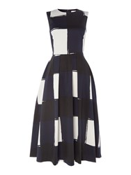 Oui Large Check Midi Fit And Flare Dress