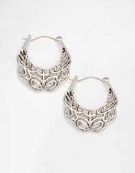 Designsix Etched Hoop Earrings Silver