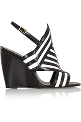 Pierre Hardy Two Tone Leather Wedge Sandals Black