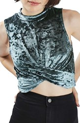 Topshop Women's Velvet Crop Top Grey