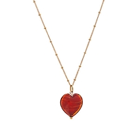 Martick Murano Glass Gold Plated Heart Necklace Cherry