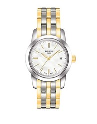 Tissot Women's Classic Dream White Mother Of Pearl Quartz And Steel Watch Two Tone