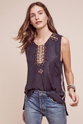 Anthropologie Golden Circle Embroidered Tank Blue
