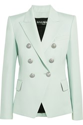 Balmain Double Breasted Wool Twill Blazer Sky Blue