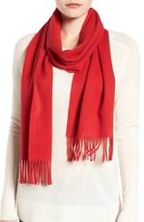Nordstrom Women's Solid Woven Cashmere Scarf Red Pepper