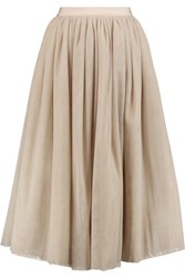 Elizabeth And James Everleigh Metallic Tulle Midi Skirt Nude