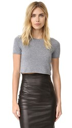 Theperfext Cashmere Cropped Short Sleeve Sweater Flannel