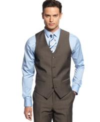 Alfani Red Light Brown Twill Slim Fit Vest