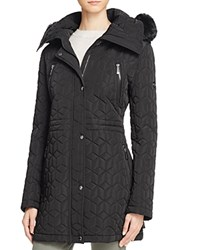 Calvin Klein Faux Fur Trim Quilted Jacket Black