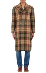 Gucci Men's Wool Mohair Appliqued Double Breasted Coat Brown