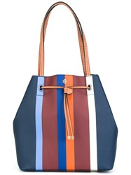 Tory Burch Striped Bucket Tote Blue