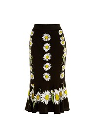 Dolce And Gabbana Margherite Daisy Print Charmeuse Skirt